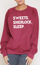 Sweets. Sherlock. Sleep Slogan Burgundy Oversized Sweater (Variant) by Top Threads