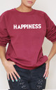 Happiness Slogan Burgundy Oversized Sweater (Variant) by Top Threads