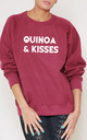 Quinoa And Kisses Slogan Burgundy Oversized Sweater (Variant) by Top Threads