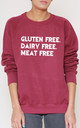 Gluten Free. Dairy Free. Meat Free Slogan Burgundy Oversized Sweater (Variant) by Top Threads