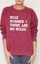 Rule Number 1. There Are No Rules Slogan Burgundy Oversized Sweater (Variant) by Top Threads