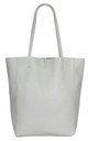 Leather Shopper Handbag - Light Grey by Blondie Rocks