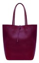 Leather Shopper Handbag - Red Plum by Blondie Rocks