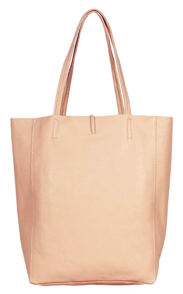 Leather Shopper Handbag - Nude by Blondie Rocks