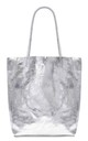 Leather Shopper Handbag - Silver by Blondie Rocks