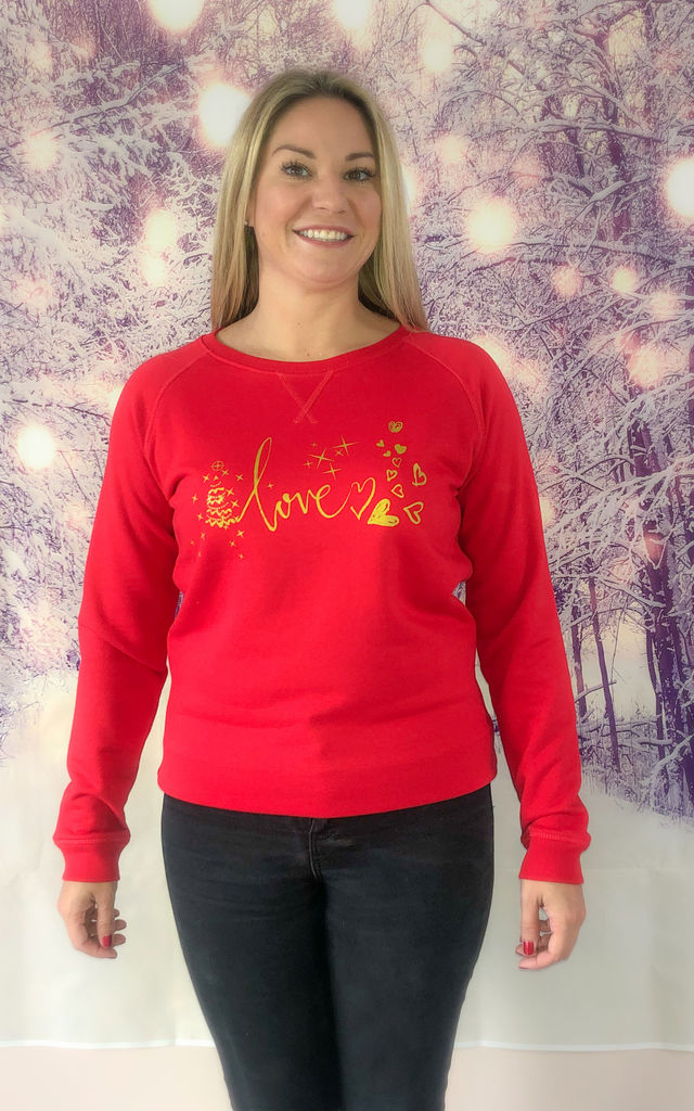 Love Red & Gold Christmas Jumper by Wear One