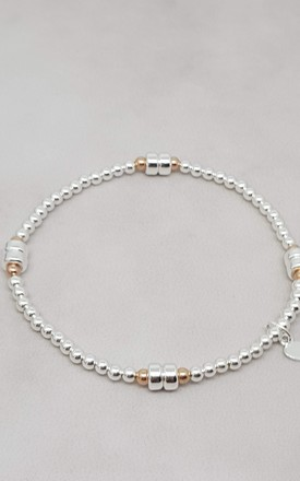 Sterling Silver & Rose Gold Disc Bracelet by Kelly England Handmade Jewellery