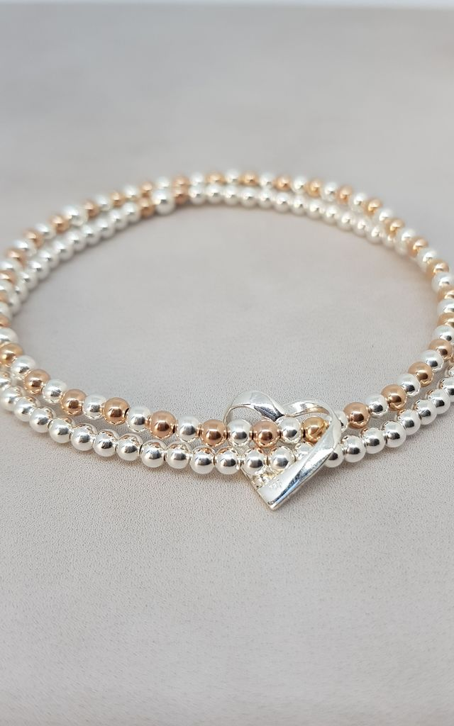 Duo Sterling Silver & Rose Gold Floating Heart Bracelet by Kelly England Handmade Jewellery