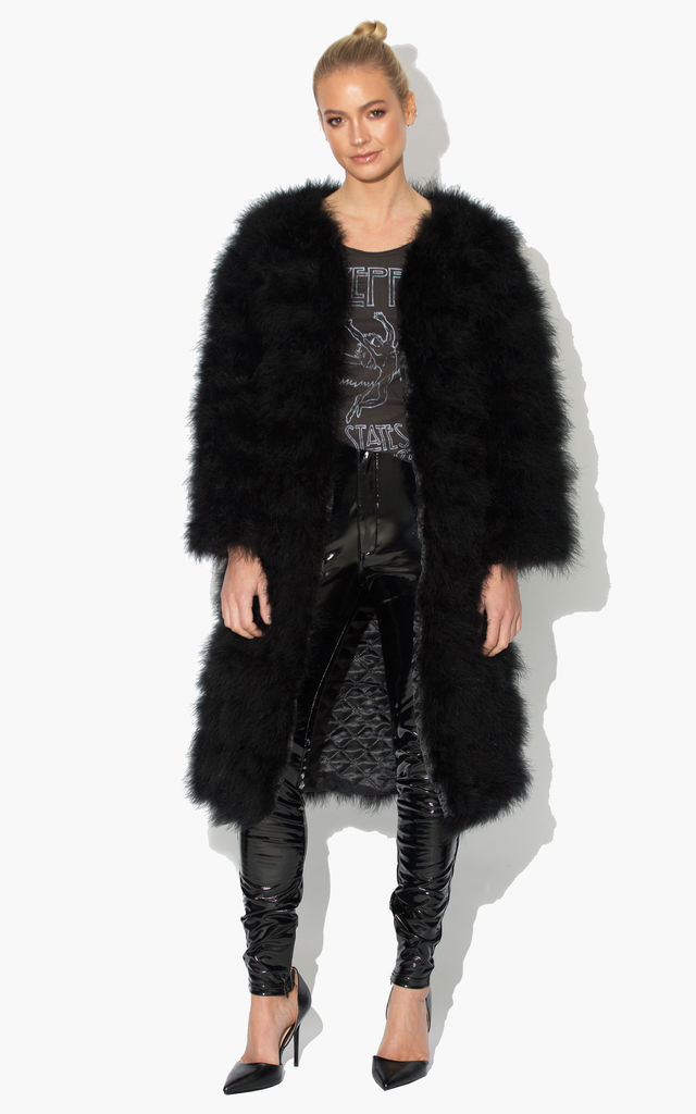 Long Harper Fluffy Jacket with Satin Lining in Black by Karizma