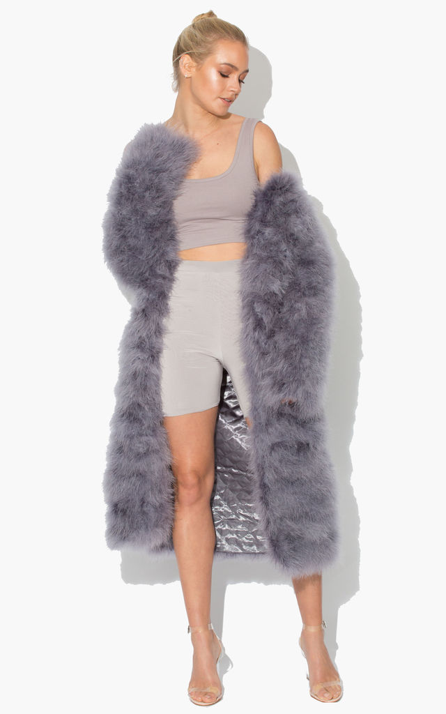 Long Harper Fluffy Jacket with Satin Lining in Baby Grey by Karizma
