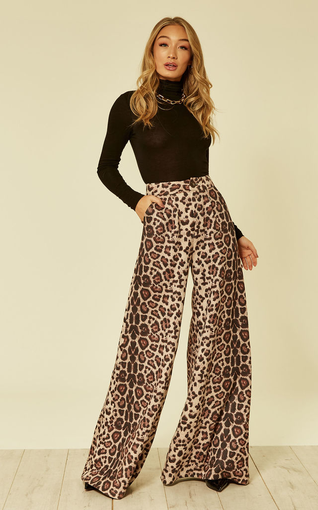 3d65d44919 Saria Suede Leopard Print Trousers | Bright & Beautiful | SilkFred