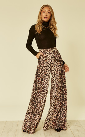 Saria Suede Leopard Print Trousers by Bright & Beautiful Product photo