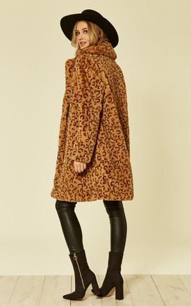 Leopard Print Oversized Faux Fur Coat by ANGELEYE