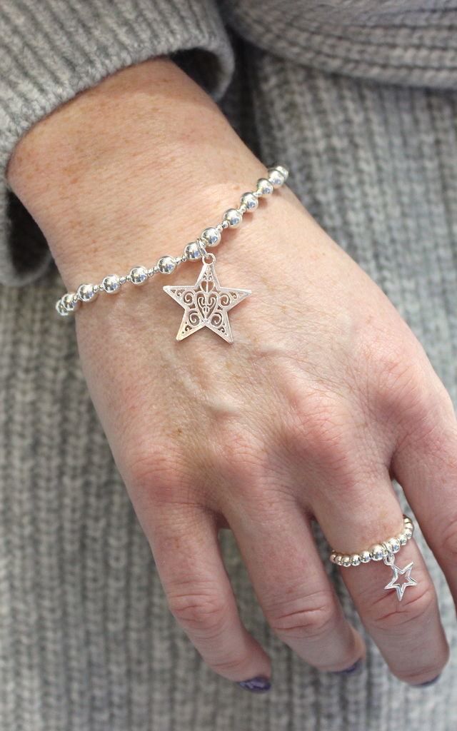 Sterling Silver Open Star Ring by Dollie Jewellery