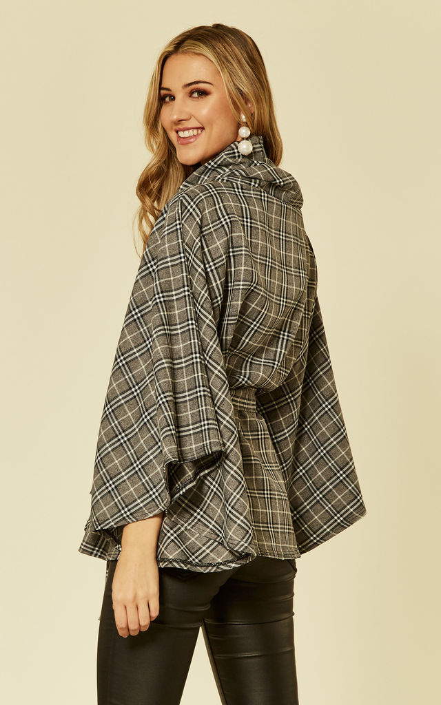 Check Belted Cape Grey by Feverfish