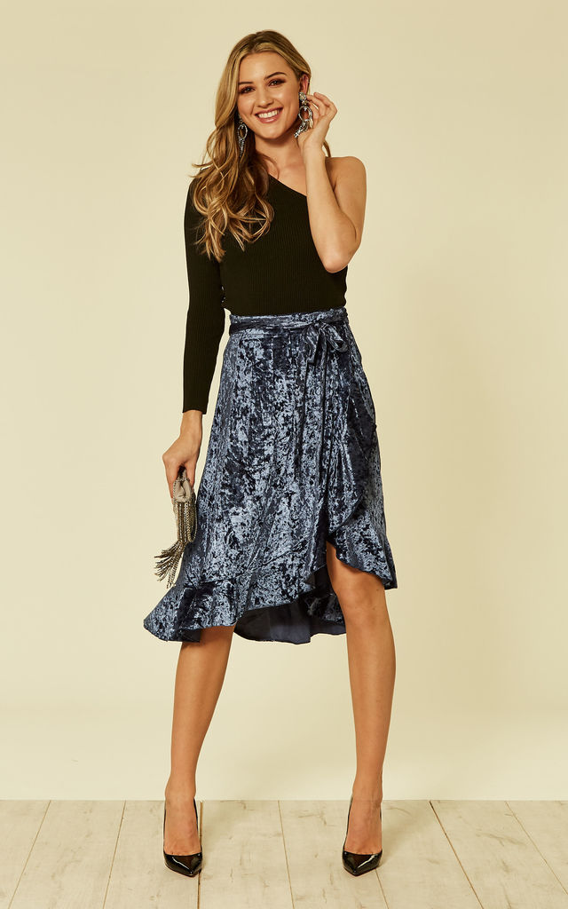 Blue Velvet Midi Wrap Skirt by ANGELEYE