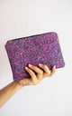 Glitter Makeup Bag in Dark Pink by Suki Sabur Designs