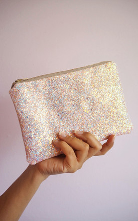 Glitter Mini Clutch Bag In Pink Iridescent by Suki Sabur Designs Product photo