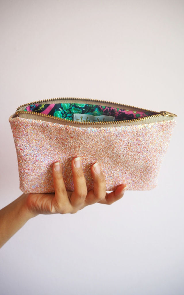 Glitter Mini Clutch Bag in Pink Iridescent by Suki Sabur Designs