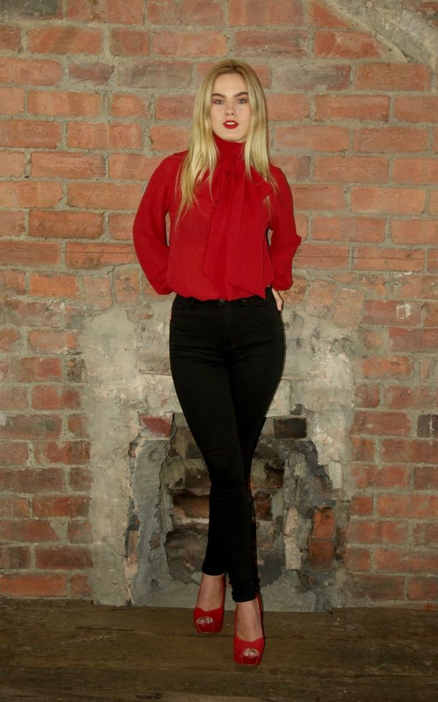 Pussy Bow Blouse- Pillar Box Red by House Of Lily
