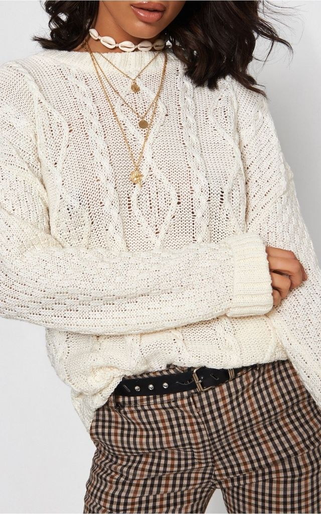 White Cable Knit Jumper by The Fashion Bible