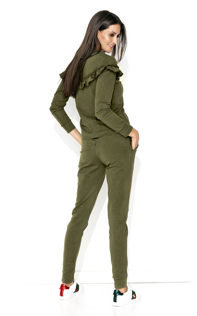Frilled Long Sleeve Top and Trousers Co-Ord in Khaki Green by Makadamia