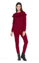 Frilled Long Sleeve Top and Trousers Co-Ord in Maroon by Makadamia
