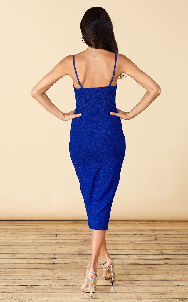 CICI MIDI CAMI DRESS IN BLUE SPARKLE image