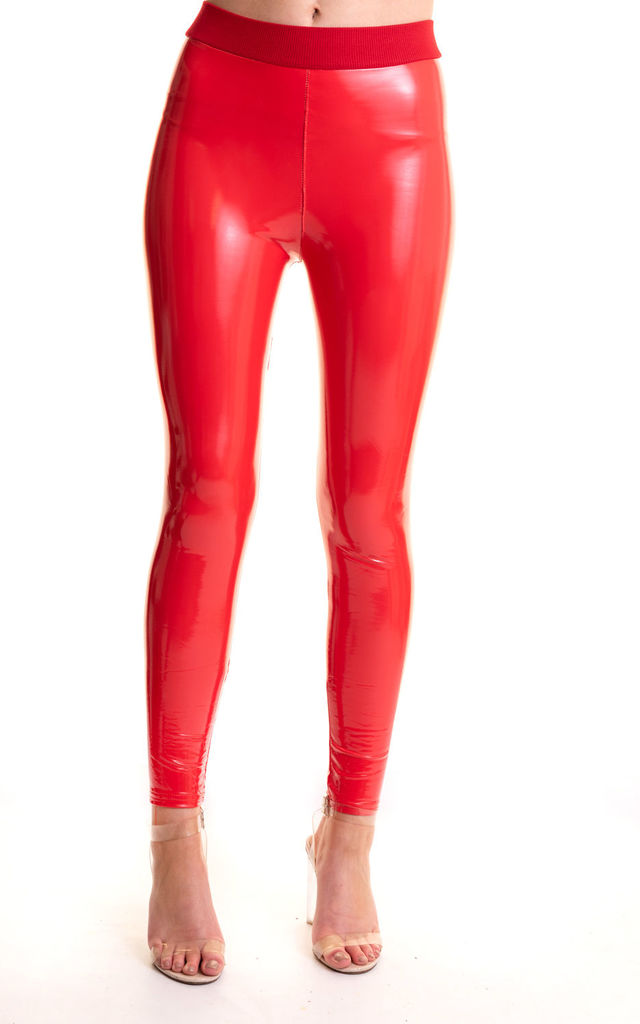 Red vinyl leggings by Miss Attire