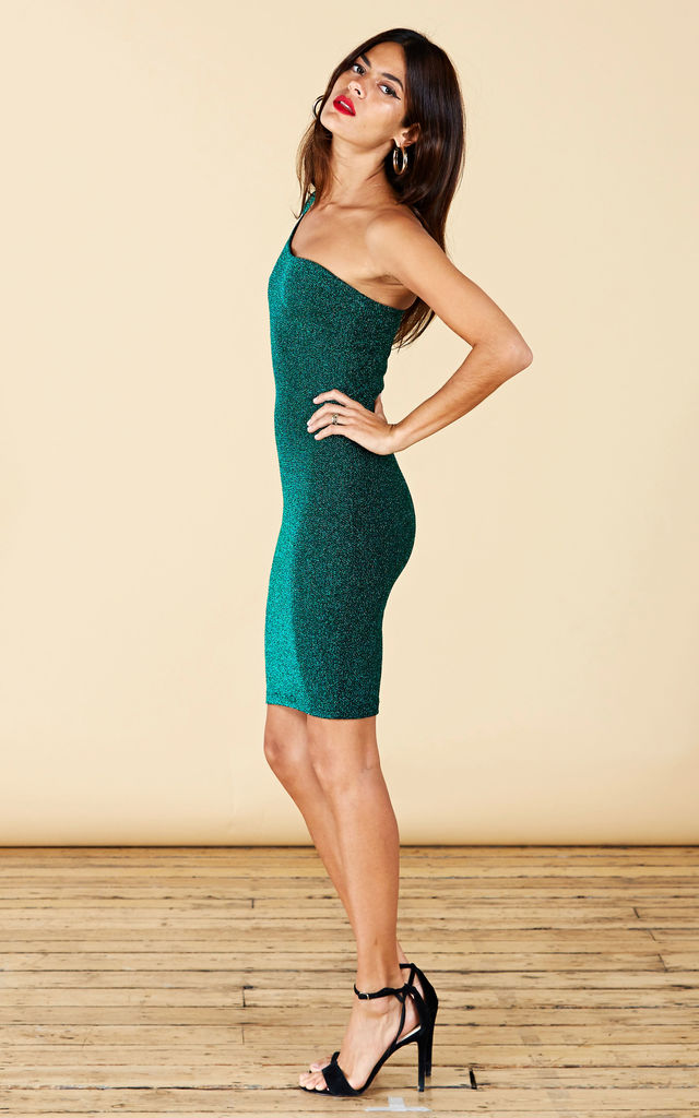 SCARLETT BODYCON DRESS IN GREEN SPARKLE image