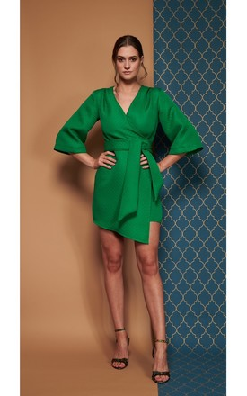 Mary H Wrap Dress Kimono In Emerald Green by COCOOVE Product photo
