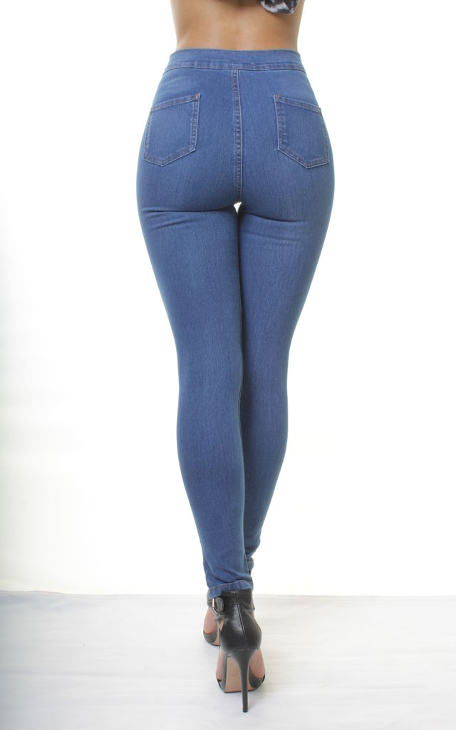 Mid Blue High Waisted Skinny Jeggings by Portobello Punk