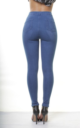 Mid Blue High Waisted Trousers Slim Skinny Slashed Jeans Jeggings by Portobello Punk