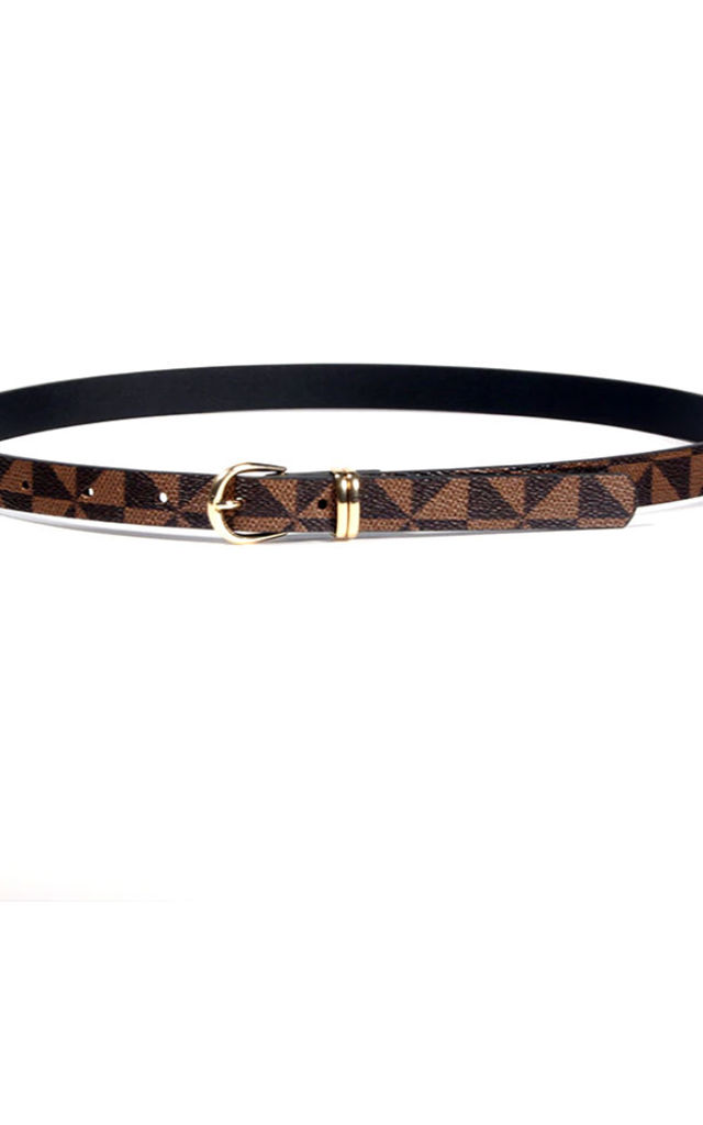 Behati Brown and Black Gold Buckle Faux Leather Belt by Ajouter Store
