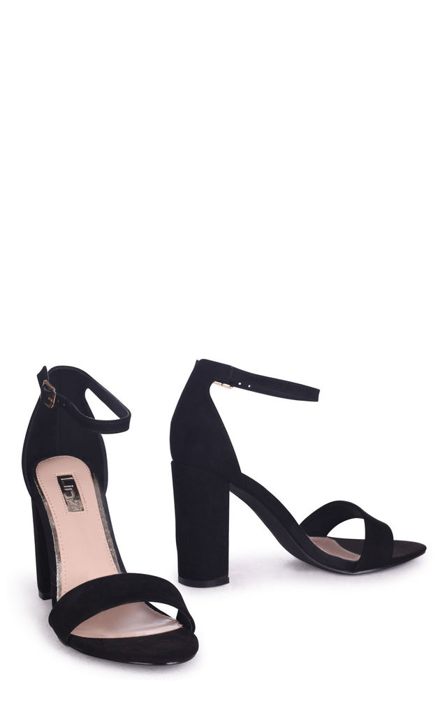 Nelly Barely There Block Heels in Black Suede by Linzi