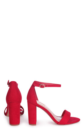 Nelly Barely There Block Heels in Red Suede by Linzi