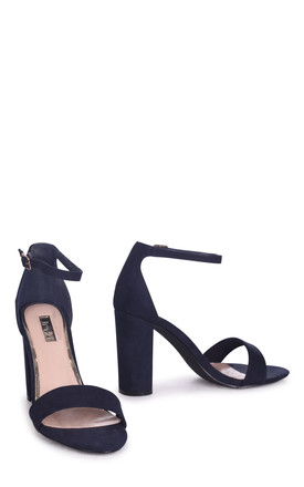 Nelly Barely There Block Heels in Navy Suede by Linzi