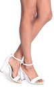 Nelly White Nappa Single Sole Block Heel by Linzi