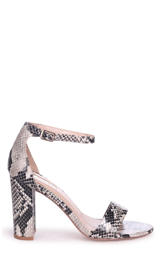 Nelly Natural Snake Nappa Suede Single Sole Block Heel by Linzi