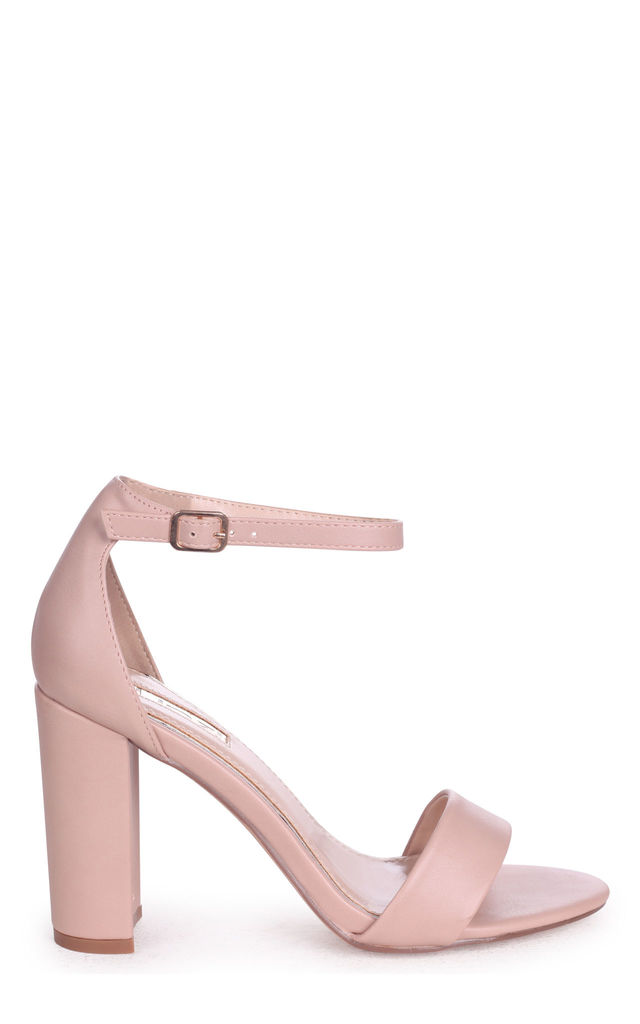 Nelly Barely There Block Heels in Nude Nappa by Linzi