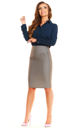 Grey High Waist Pencil Skirt by AWAMA