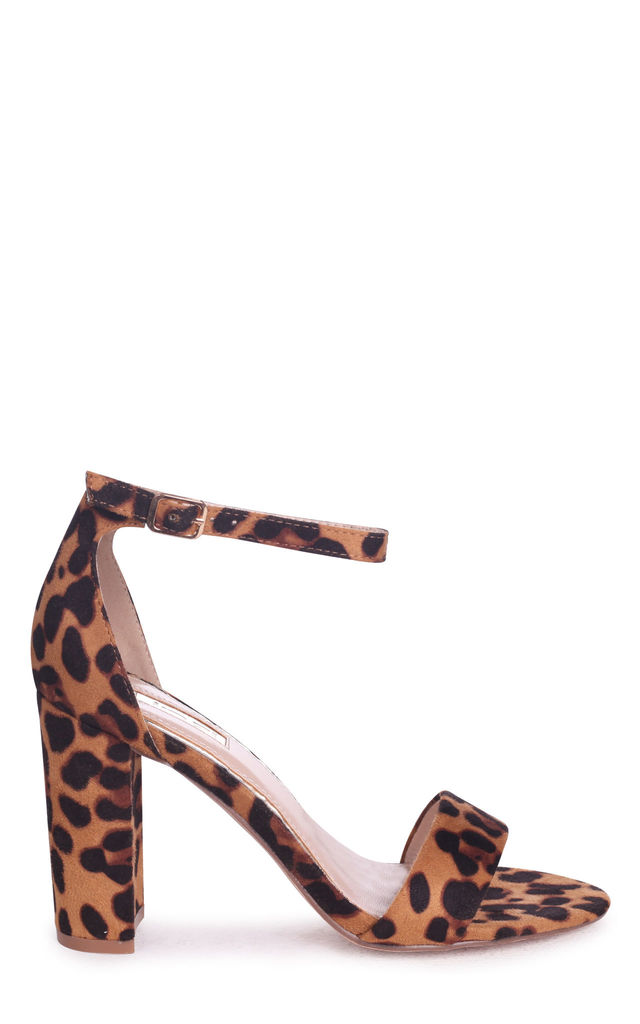 Nelly Brown Leopard Suede Single Sole Block Heel by Linzi