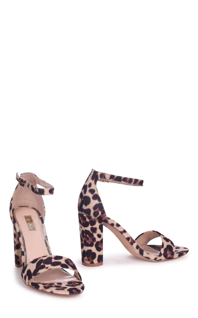 Nelly Barely There Block Heels in Natural Leopard Suede by Linzi