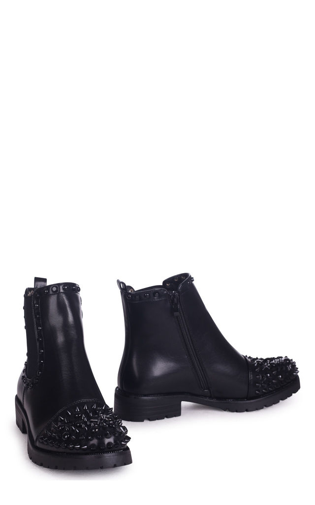Sabrina Black Nappa Ankle Boot With Studded Toe And Side Detail by Linzi
