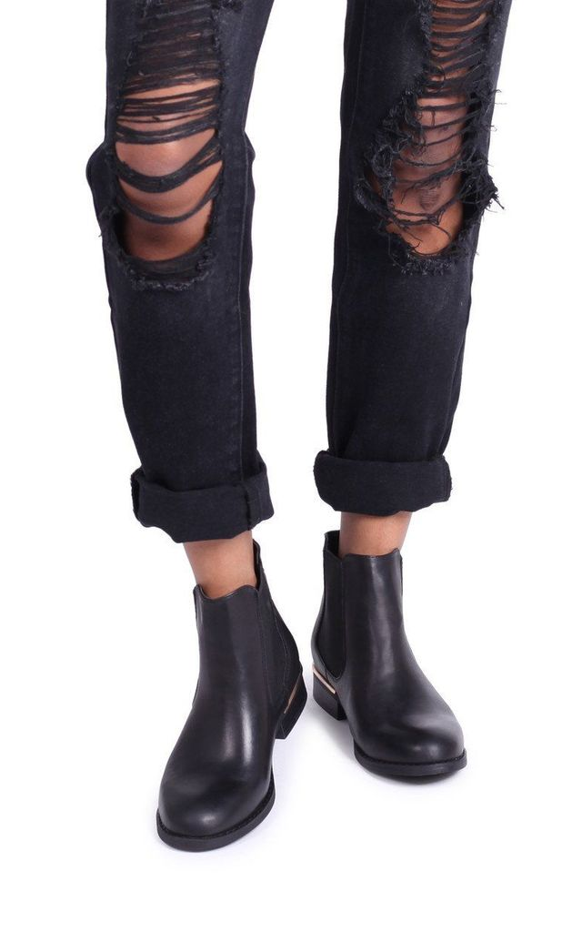 Lani Black Nappa Classic Chelsea Boot with Gold Rand by Linzi