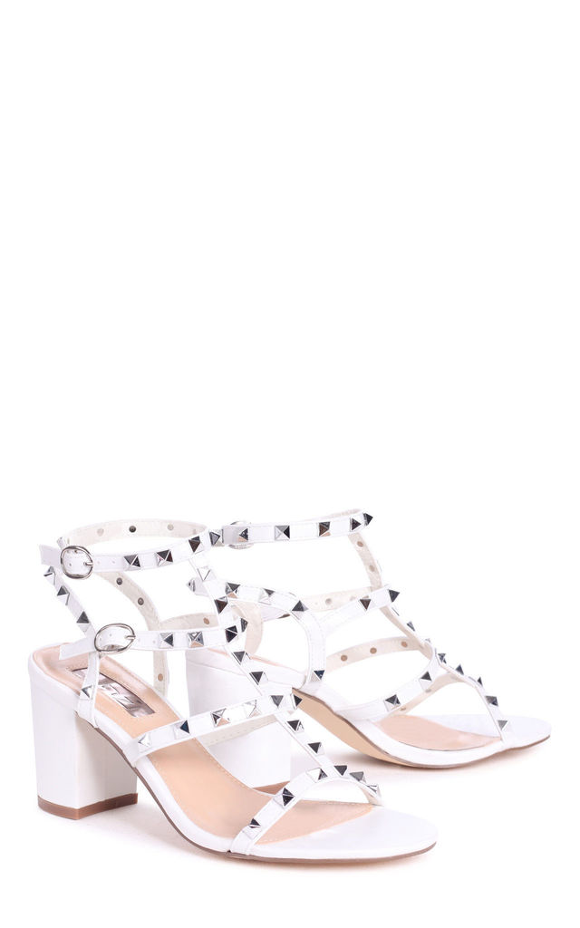 Tessa White With Silver Studs Studded Block Heeled Sandal by Linzi