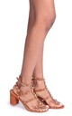 Tessa Toffee With Silver Studs Studded Block Heeled Sandal by Linzi