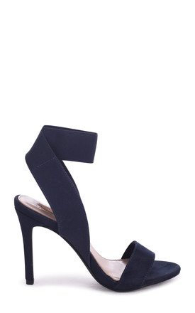 Crystal Navy Suede Stiletto Heel With Elasticated Upper by Linzi