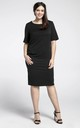 Black U-Neck Short Sleeves Dress by Bergamo