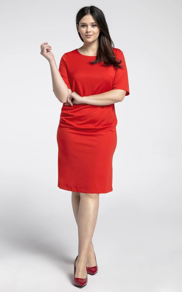 Red U-Neck Short Sleeves Dress by Bergamo